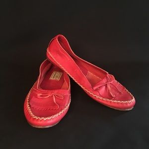 Soft red leather loafers, leather sole, size 8